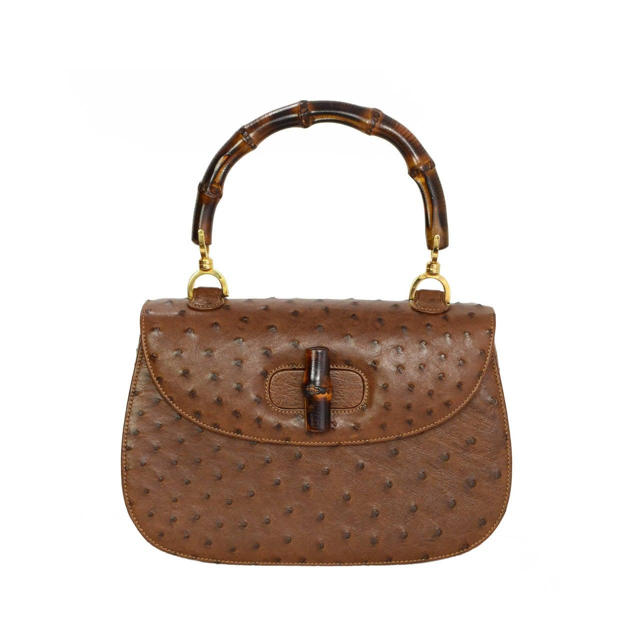 Gucci Vintage 70s 80s Brown Ostrich Evening Bag Ghw