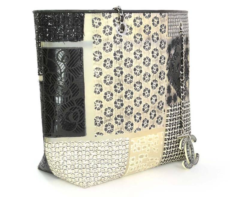 Chanel Rare Tweed And Fabric Patchwork Rubber Tote Bag W