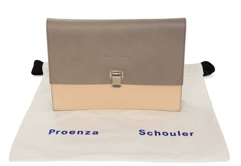 "Proenza Schouler Peach/Grey Two Tone Large ""Lunch Bag"" Flap Clutch rt. $915 10"