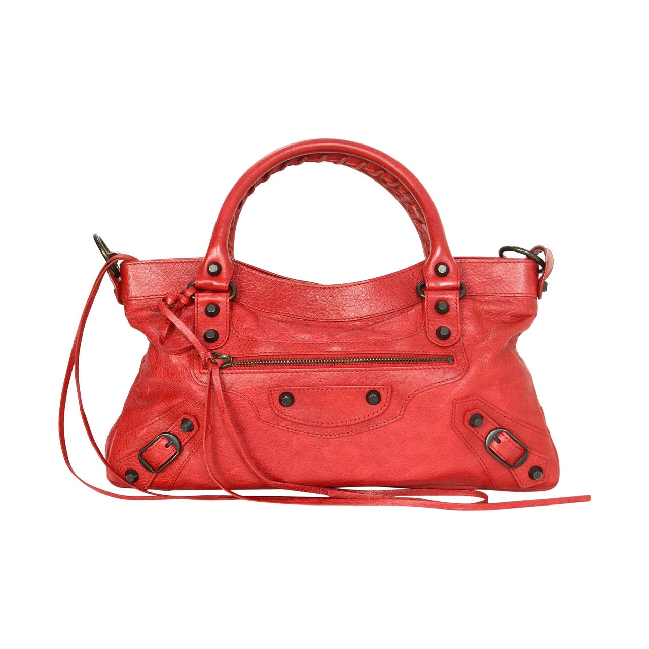 BALENCIAGA Distressed Red Leather Classic First Motorcycle ...