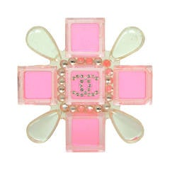 CHANEL Pink & Clear Resin Cross Brooch
