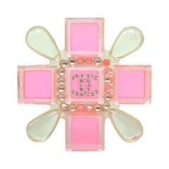 Chanel 2004 Pink & Clear Resin Maltese Cross Brooch Pin