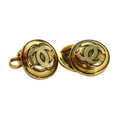 CHANEL Vintage Antiqued Gold CC Cufflinks
