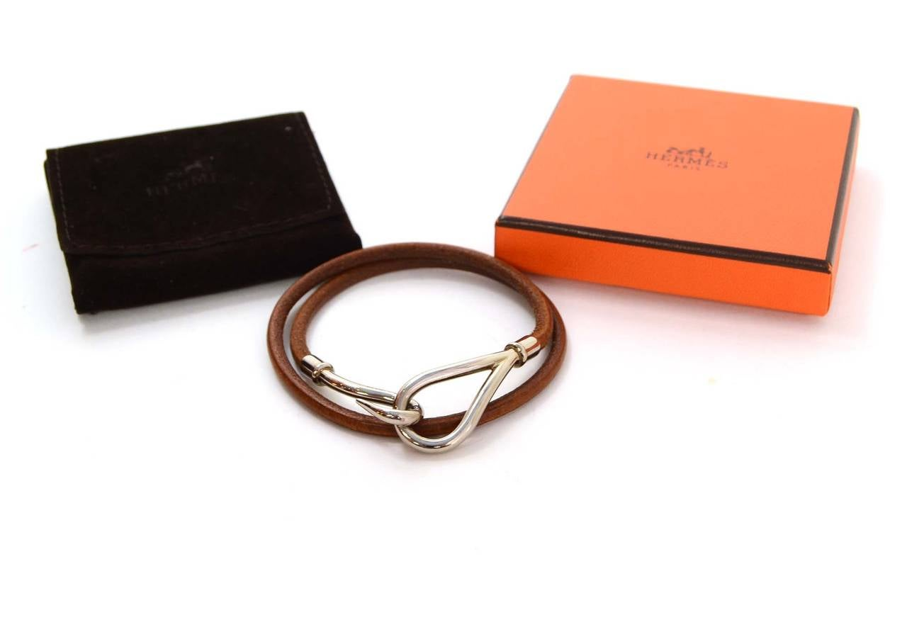 Hermes Brown Leather And Silver Jumbo Hook Necklace Double