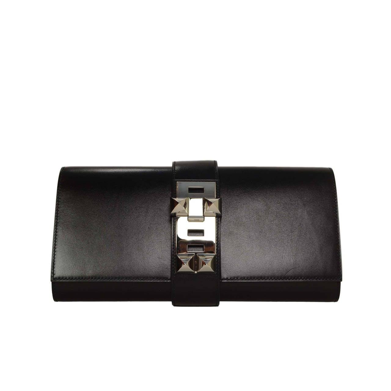 HERMES Black Box Leather 29cm Medor Clutch Bag PHW at 1stdibs