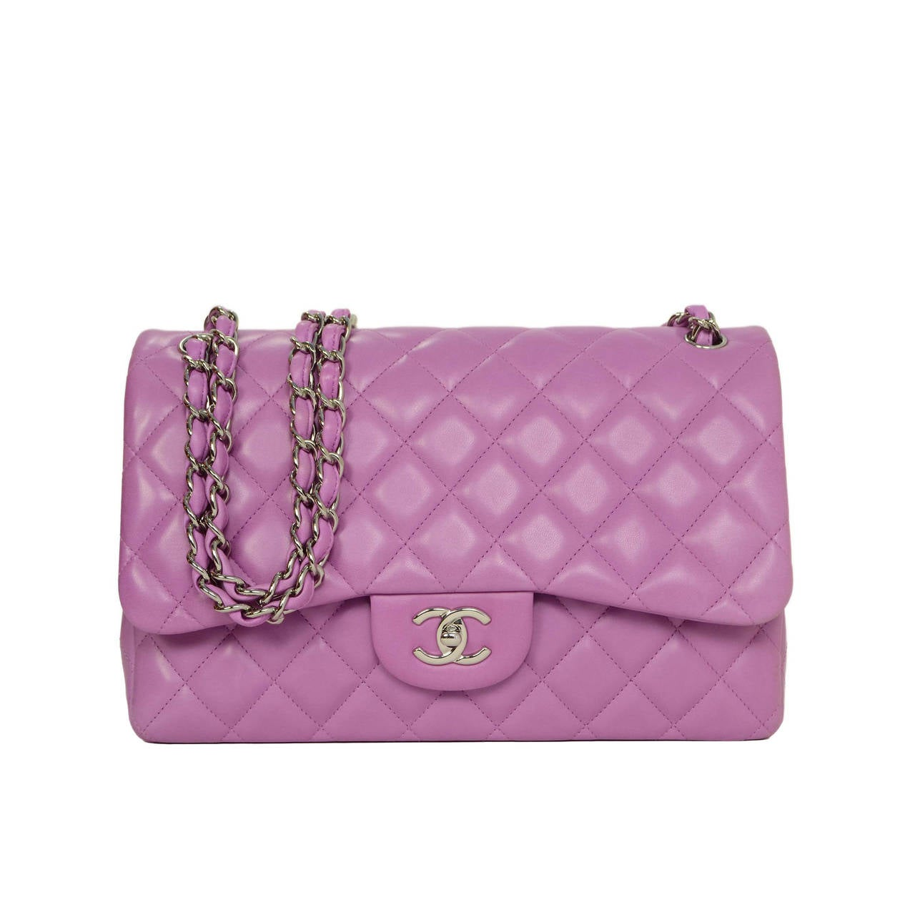 05cc253e7f5521 CHANEL Lavender Quilted Lambskin Jumbo Classic Double Flap Bag SHW For Sale