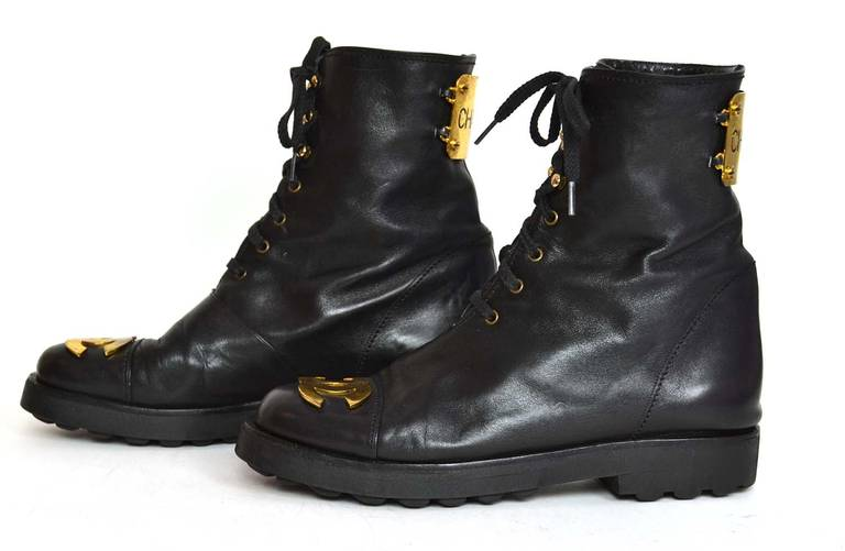 Chanel RARE Black Leather Vintage Combat Short Boots w/ Gold CC Plaque sz. 38.5 In Excellent Condition For Sale In New York, NY
