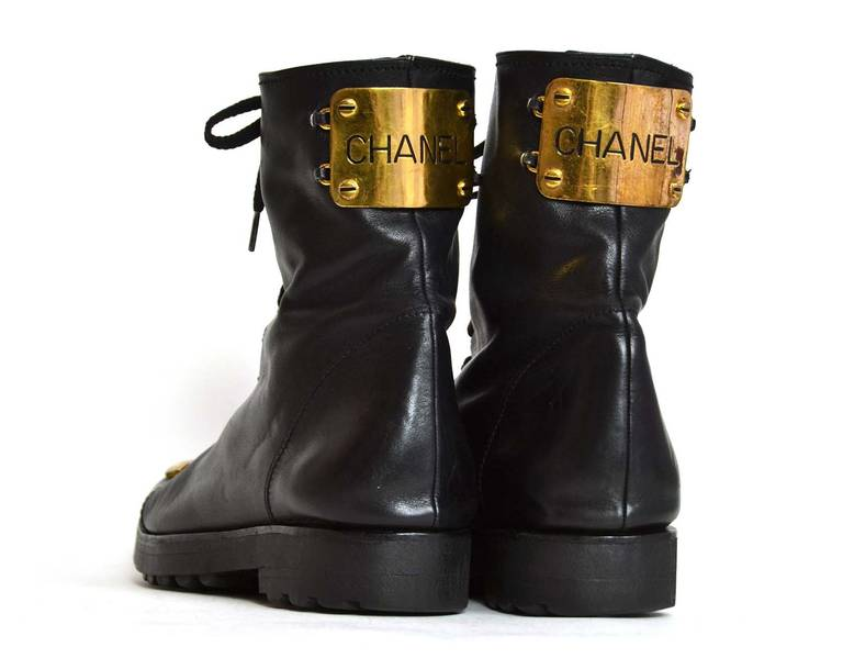 Women's Chanel RARE Black Leather Vintage Combat Short Boots w/ Gold CC Plaque sz. 38.5 For Sale