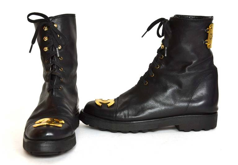 Chanel RARE Black Leather Vintage Combat Short Boots w/ Gold CC Plaque sz. 38.5 For Sale 1