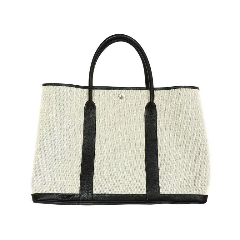 Hermes Grey Canvas and Black Leather Toile XL TGM Garden Party ...