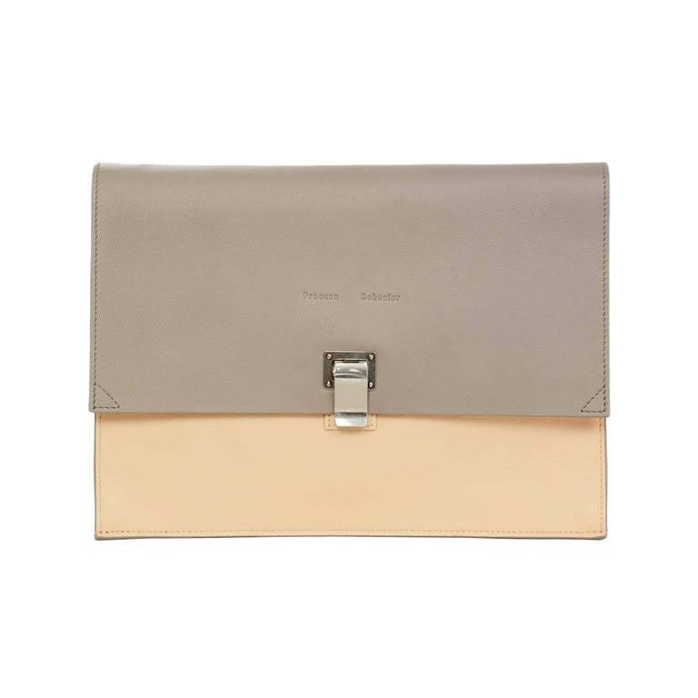 "Proenza Schouler Peach/Grey Two Tone Large ""Lunch Bag"" Flap Clutch rt. $915 1"