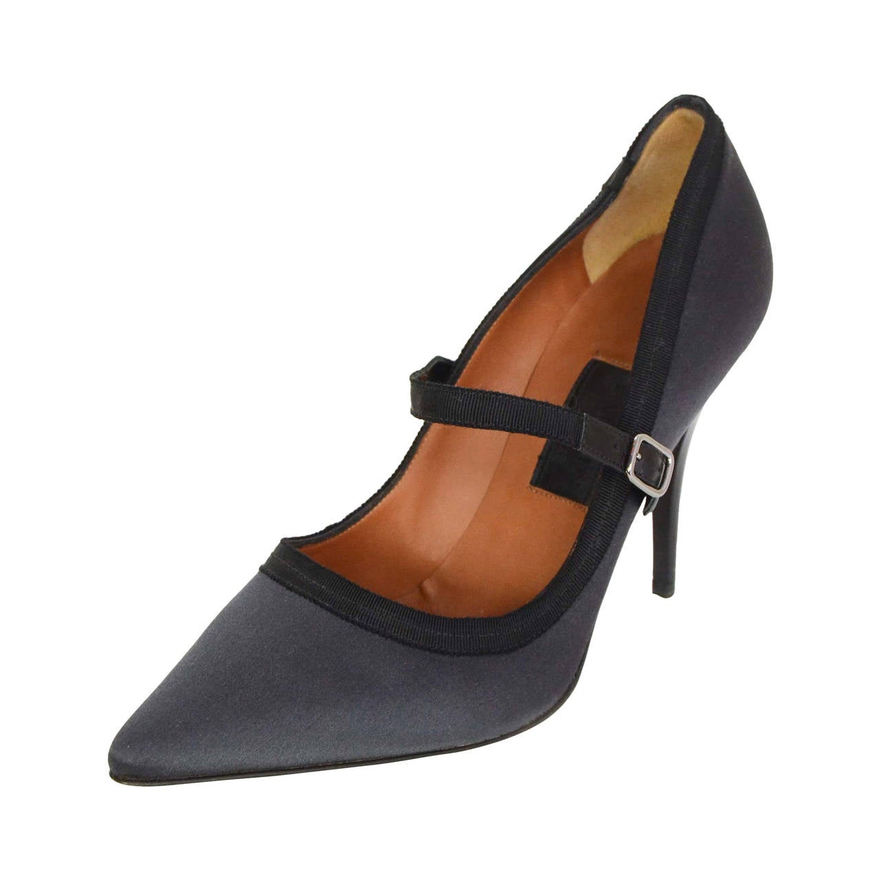 Lanvin Grey Satin Mary Jane Pumps Sz 38 5 For Sale At 1stdibs