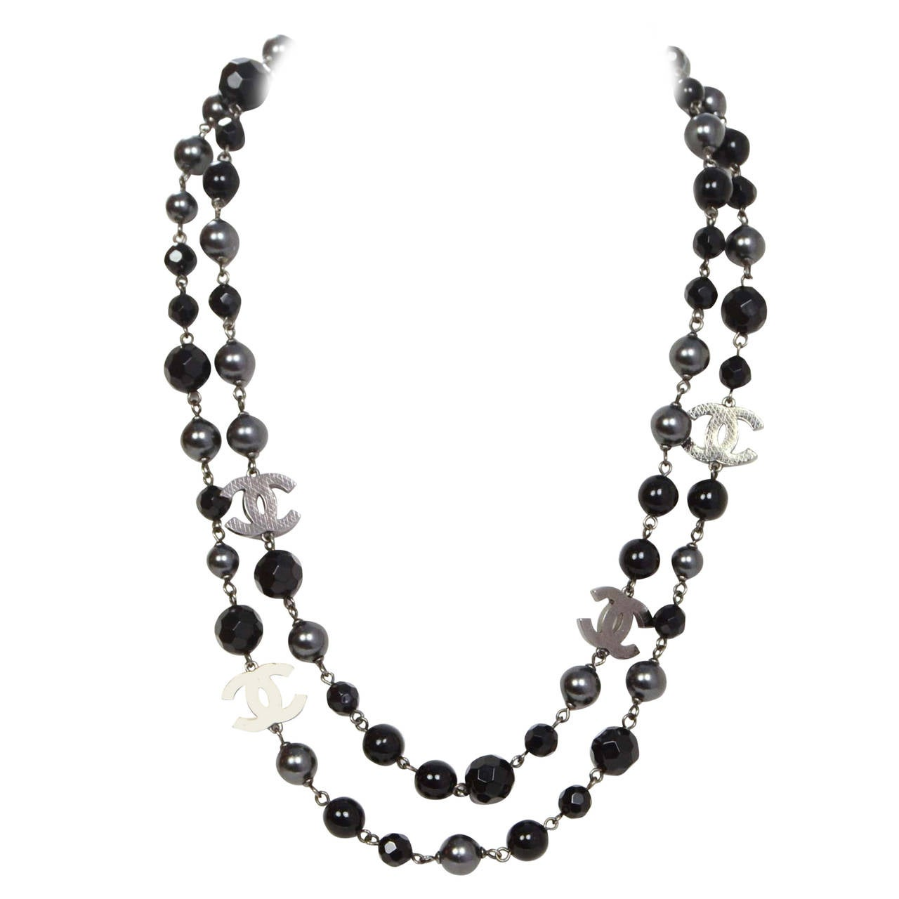 Chanel '15 Black Bead & Grey Pearl Long Strand Necklace 1
