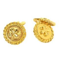 CHANEL Vintage Gold Clover Round Cufflinks