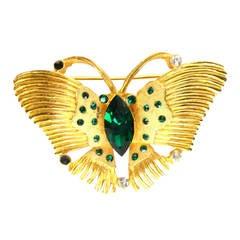 KRAMER Gold & Emerald Butterfly Brooch