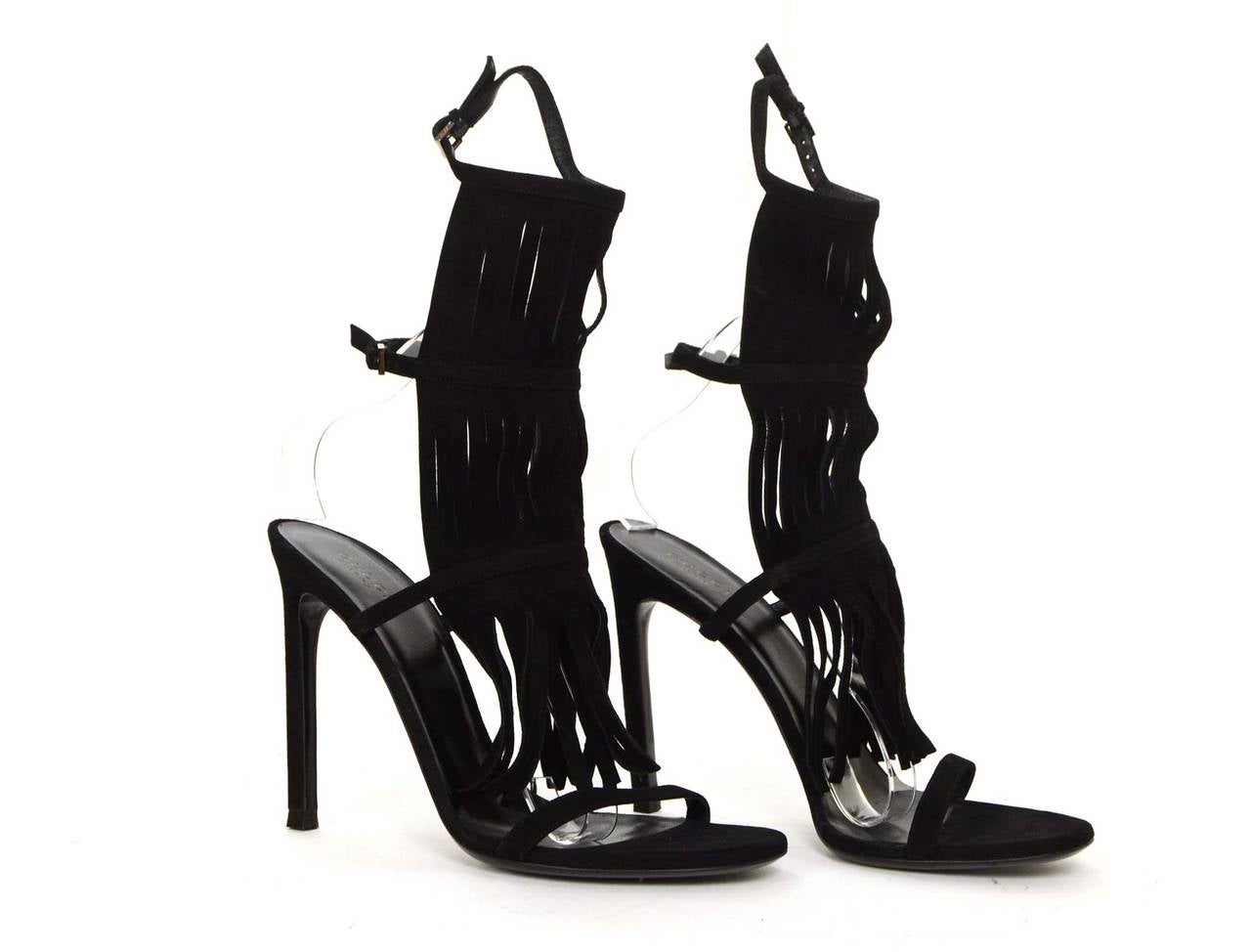 """Gucci NEW Black Suede """"Becky"""" Fringe Strappy Sandals sz 39.5 rt. $650 4"""