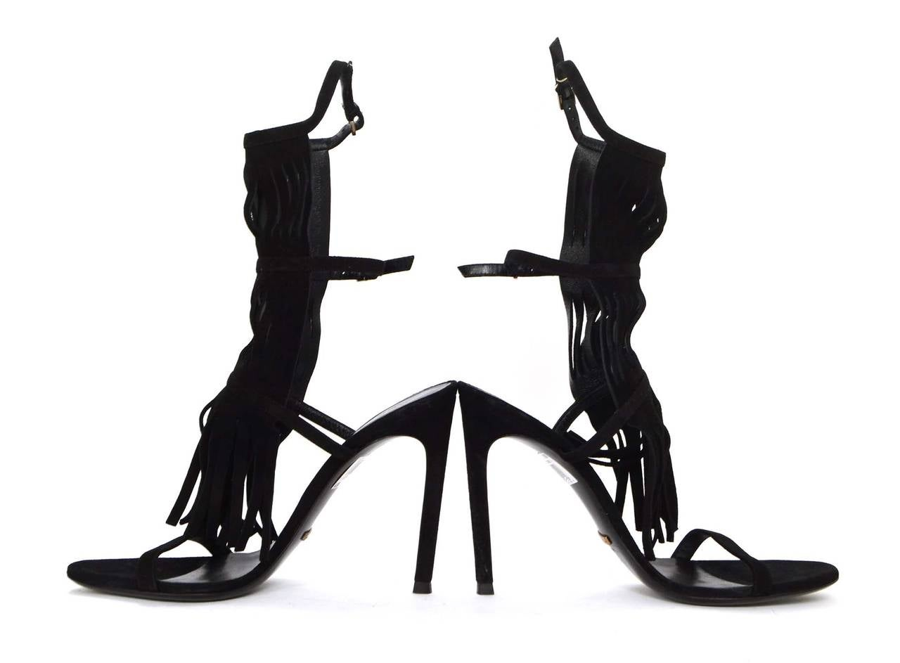 """Gucci NEW Black Suede """"Becky"""" Fringe Strappy Sandals sz 39.5 rt. $650 6"""