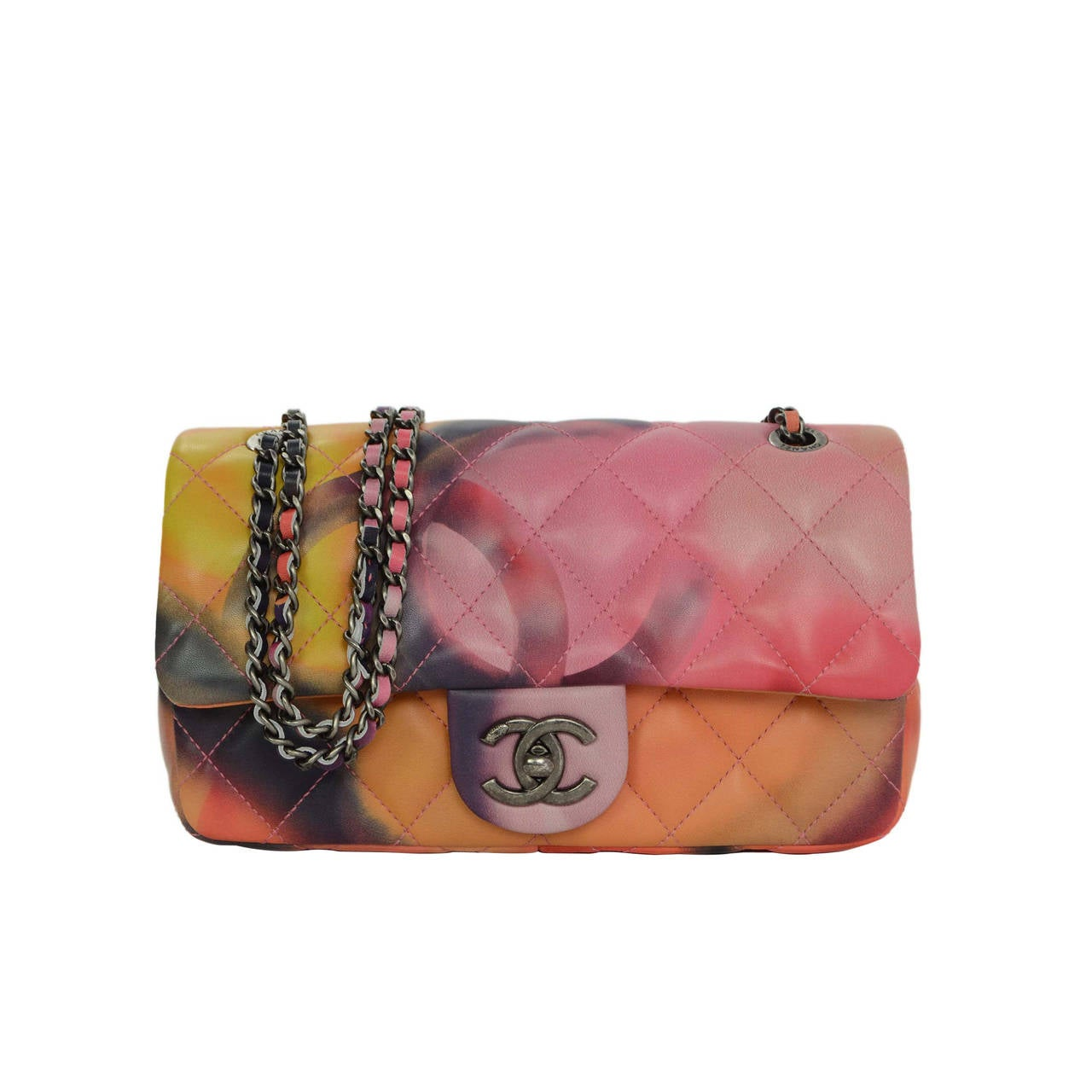 Chanel 15 Multi Color Quilted Leather Flower Power Small