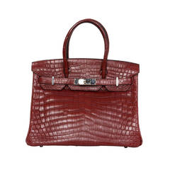 Hermes Rouge Niloticus Matte Crocodile 30cm Birkin Bag PHW