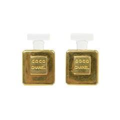 Chanel Vintage Goldtone Perfume Bottle Earrings C. 50's/60's