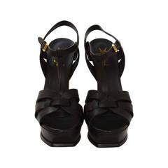 Yves Saint Laurent Black Leather Tribute Sandals rt.$895