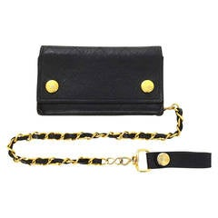 CHANEL Vintage '92 Black Quilted Leather Wallet & Chain GHW