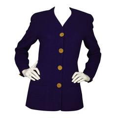 CHANEL Vintage '90s Royal Purple Wool Jacket sz 40