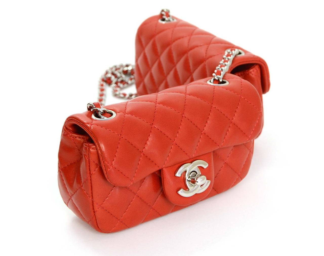 2a74938c00d3 Chanel Red Quilted Lambskin Double Mini Crossbody Flap Bag Features red  leather strap at center to