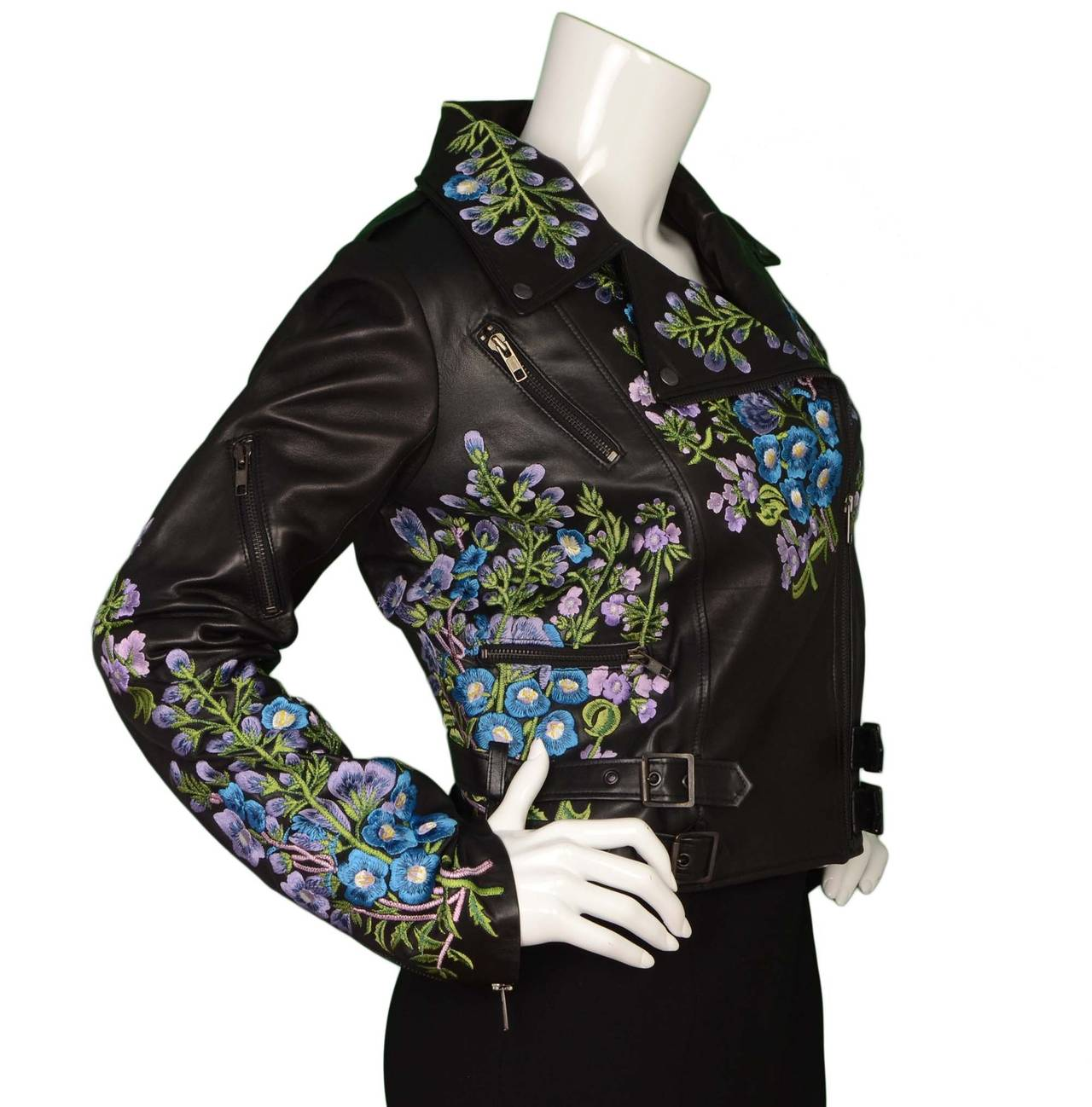 Christopher Kane Floral Embroidered Black Leather Jacket Sz 10 For