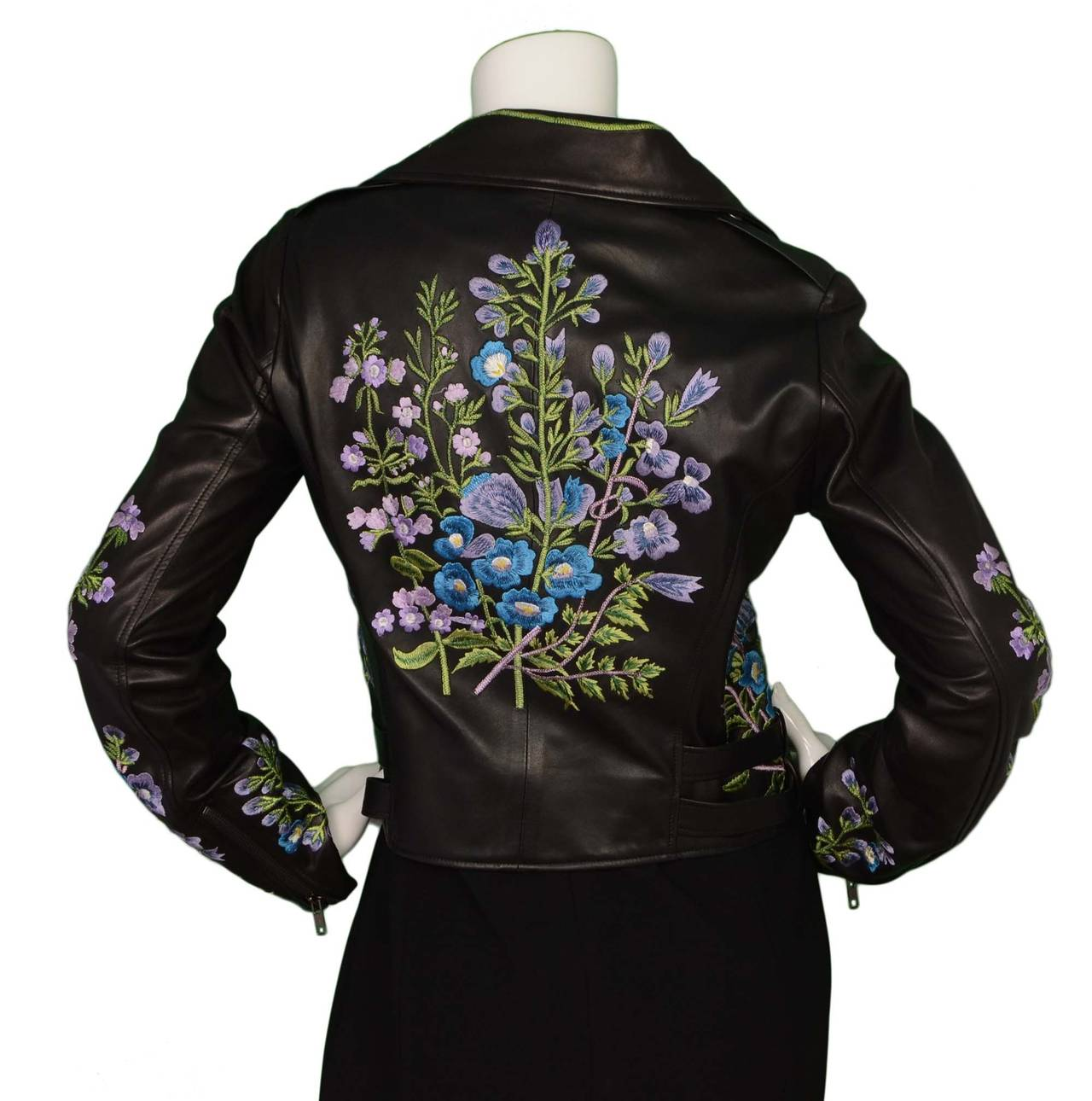 CHRISTOPHER KANE Floral Embroidered Black Leather Jacket Sz 10 For Sale At 1stdibs