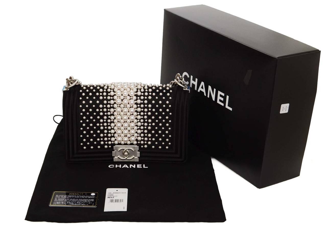 CHANEL '15 Ltd Ed. Black Satin & Pearl  Medium Boy Bag SHW 9