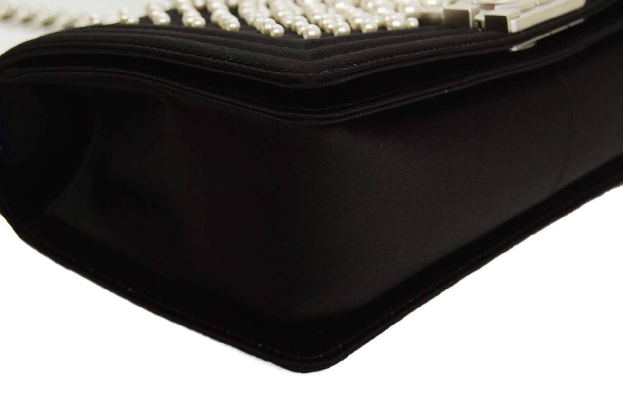 CHANEL '15 Ltd Ed. Black Satin & Pearl  Medium Boy Bag SHW 4