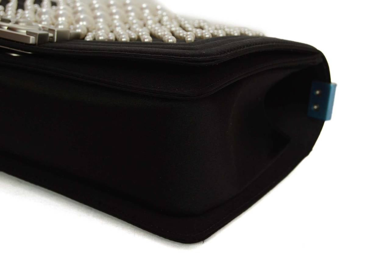 CHANEL '15 Ltd Ed. Black Satin & Pearl  Medium Boy Bag SHW 5