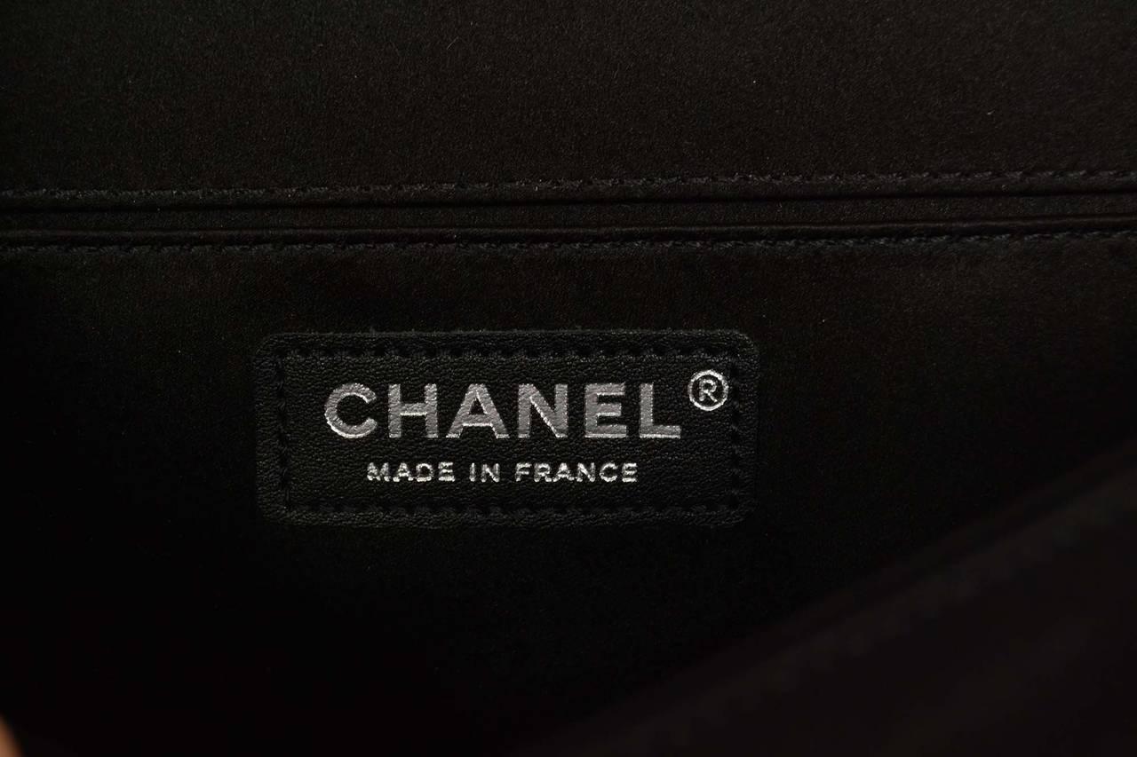 CHANEL '15 Ltd Ed. Black Satin & Pearl  Medium Boy Bag SHW 7
