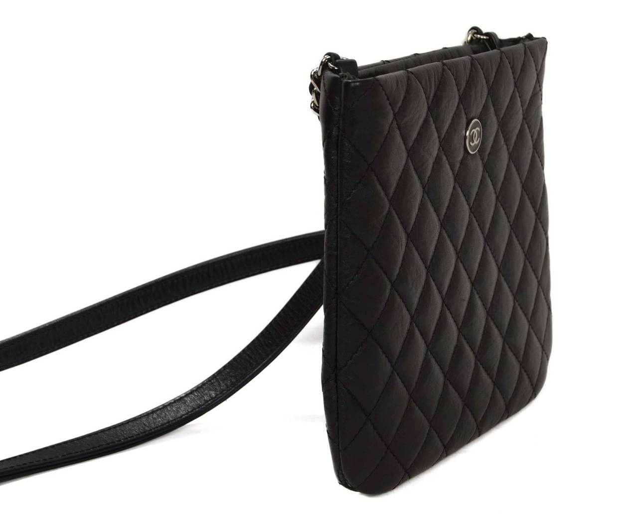 Chanel Quilted Distressed Leather Small Crossbody Bag Features Cc Emblem On Front Of Made
