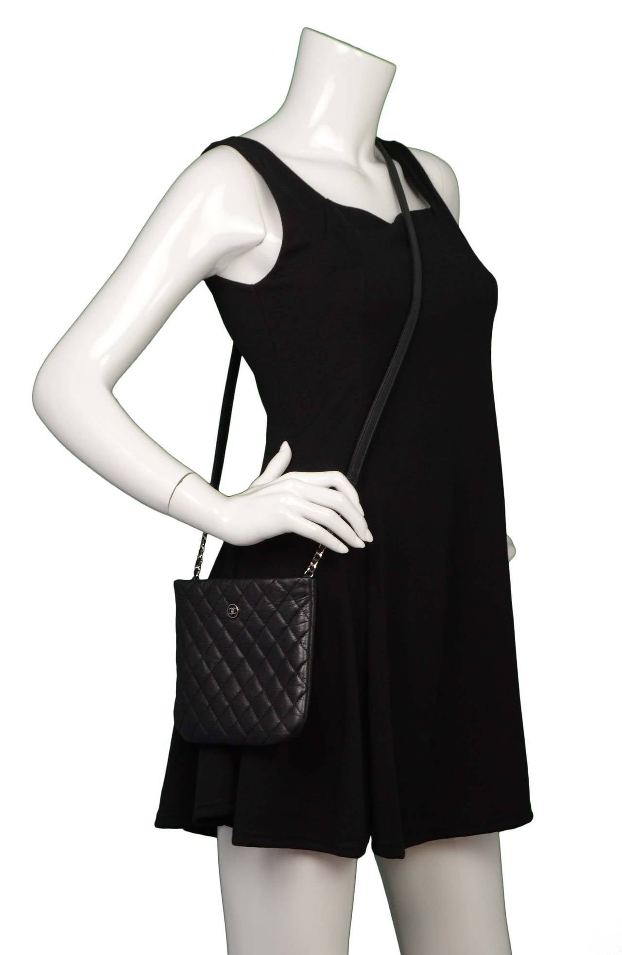 b7a14c8840a4 CHANEL Black Quilted Distressed Leather Small Crossbody Bag SHW For Sale 6