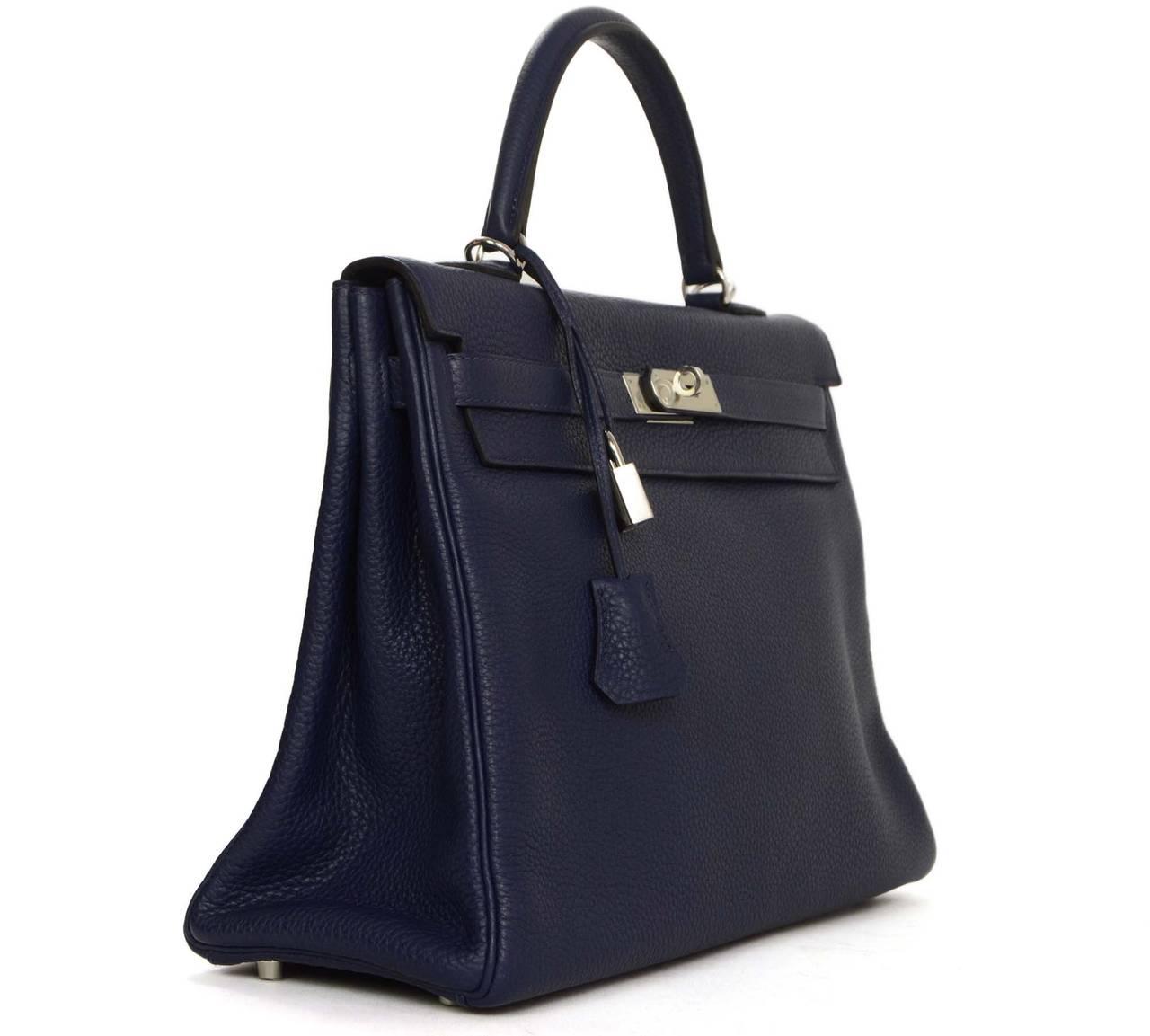 hermes new navy bleu saphir clemence leather 35cm kelly bag phw