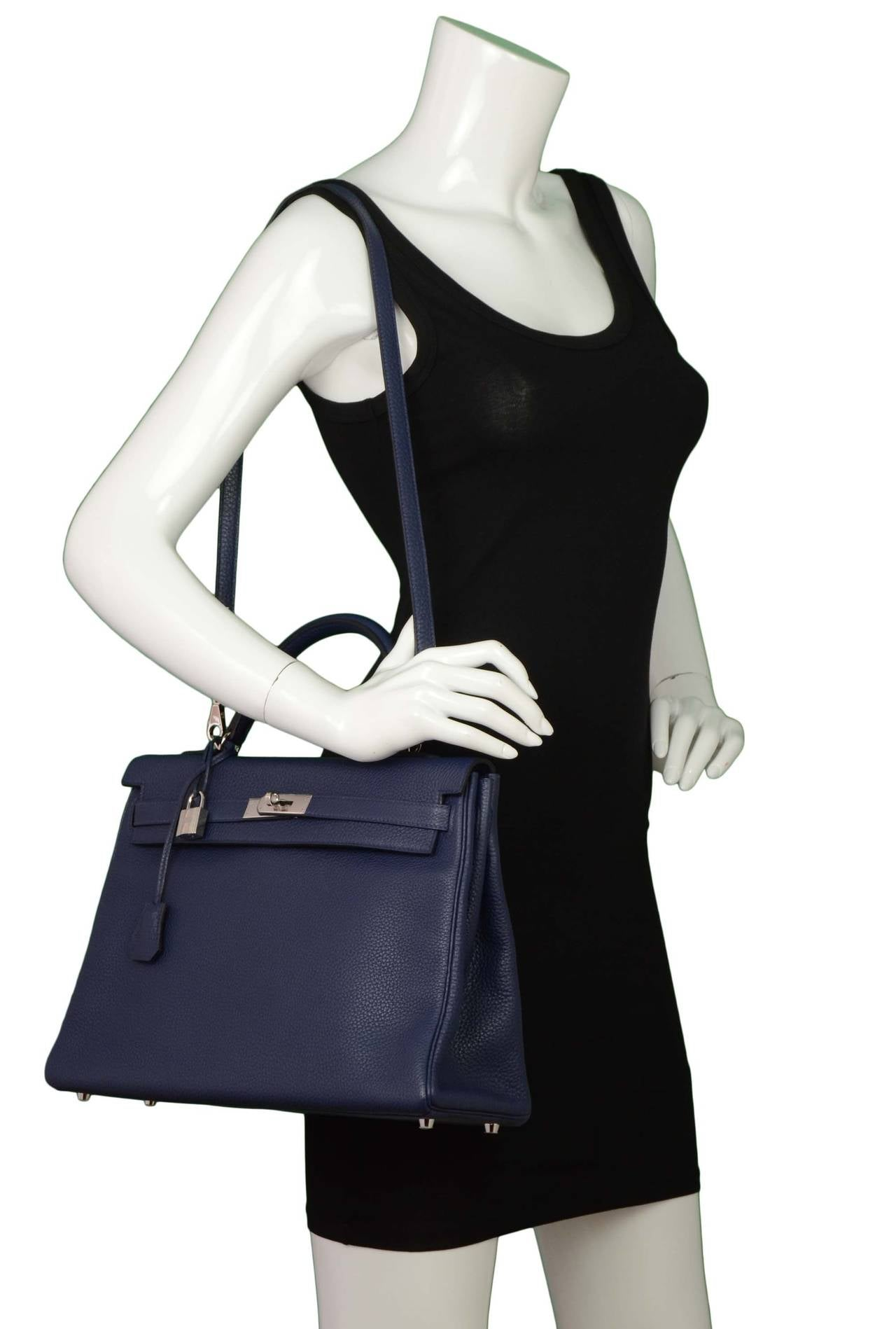 Hermes NEW Navy Bleu Saphir Clemence Leather 35cm Kelly Bag PHW ...