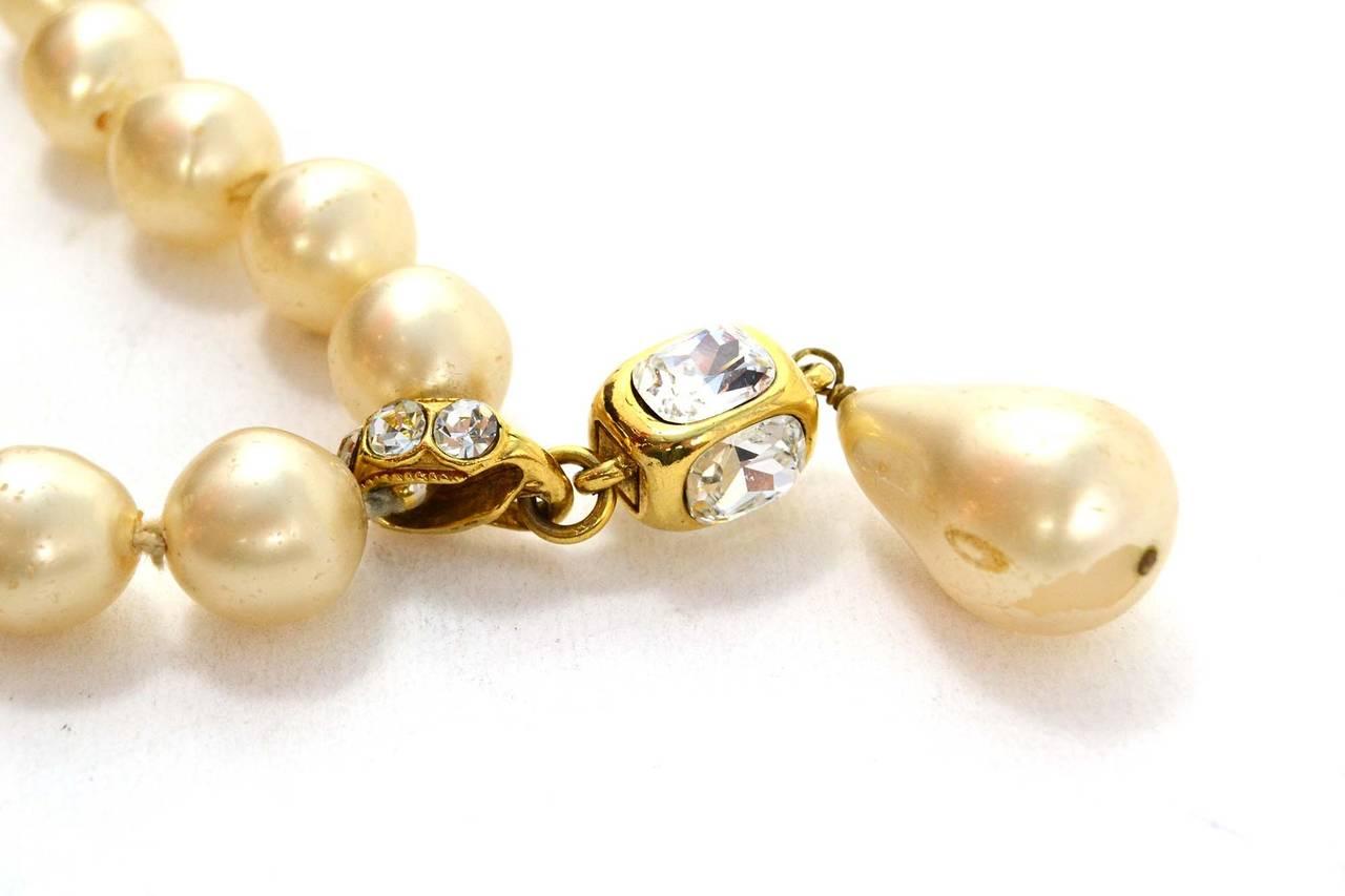 CHANEL Vintage '86 Pearl & Crystal Tear Drop Necklace 2