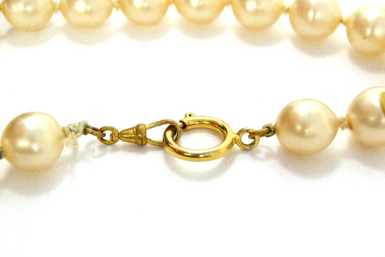 CHANEL Vintage '86 Pearl & Crystal Tear Drop Necklace 3