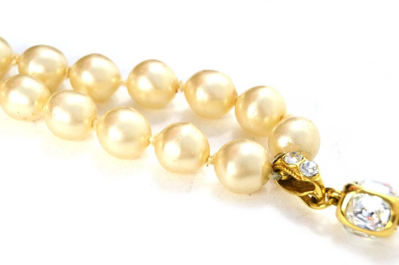 CHANEL Vintage '86 Pearl & Crystal Tear Drop Necklace 4