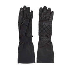 CHANEL Black Leather 3/4 Sleeve Gloves sz 7.5