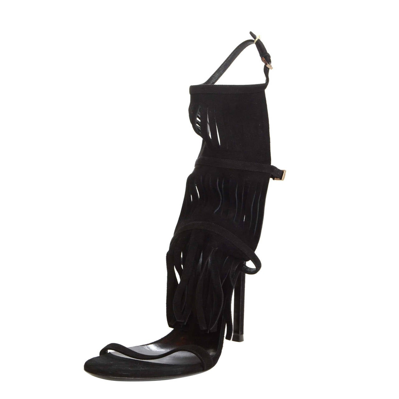 """Gucci NEW Black Suede """"Becky"""" Fringe Strappy Sandals sz 39.5 rt. $650 1"""