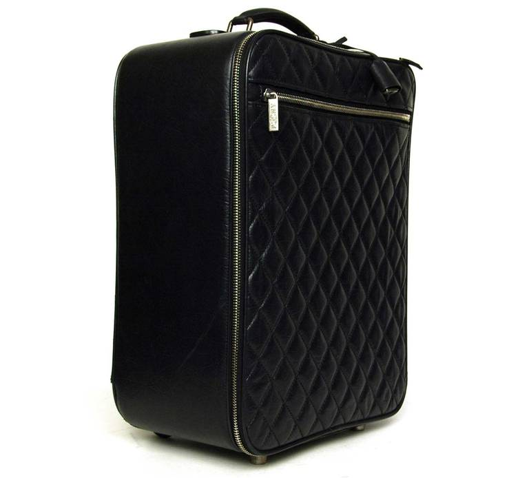 05e207cd25e ... Luggage Bag For Sale. c.2007 Features rectangular distressed quilted  leather rolling suitcase with collapsible handle. Exterior zippered