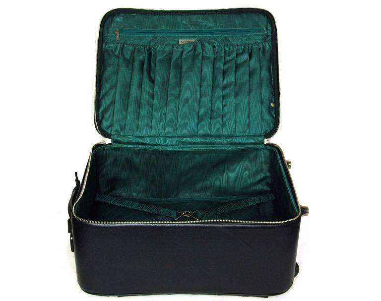 637b7f379cf Women's or Men's Chanel 2007 Black Distressed Quilted Leather Rolling  Suitcase Luggage Bag For Sale