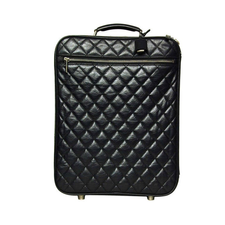 5dfdd45b14e7 Chanel 2007 Black Distressed Quilted Leather Rolling Suitcase Luggage Bag  at 1stdibs