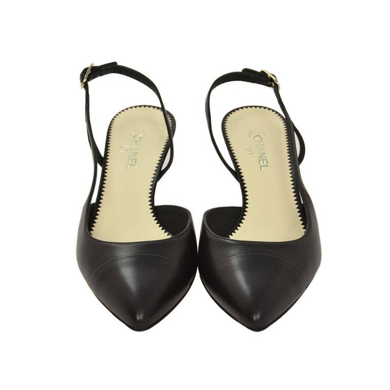 chanel leather slingback shoes w pearl and cc heel new in