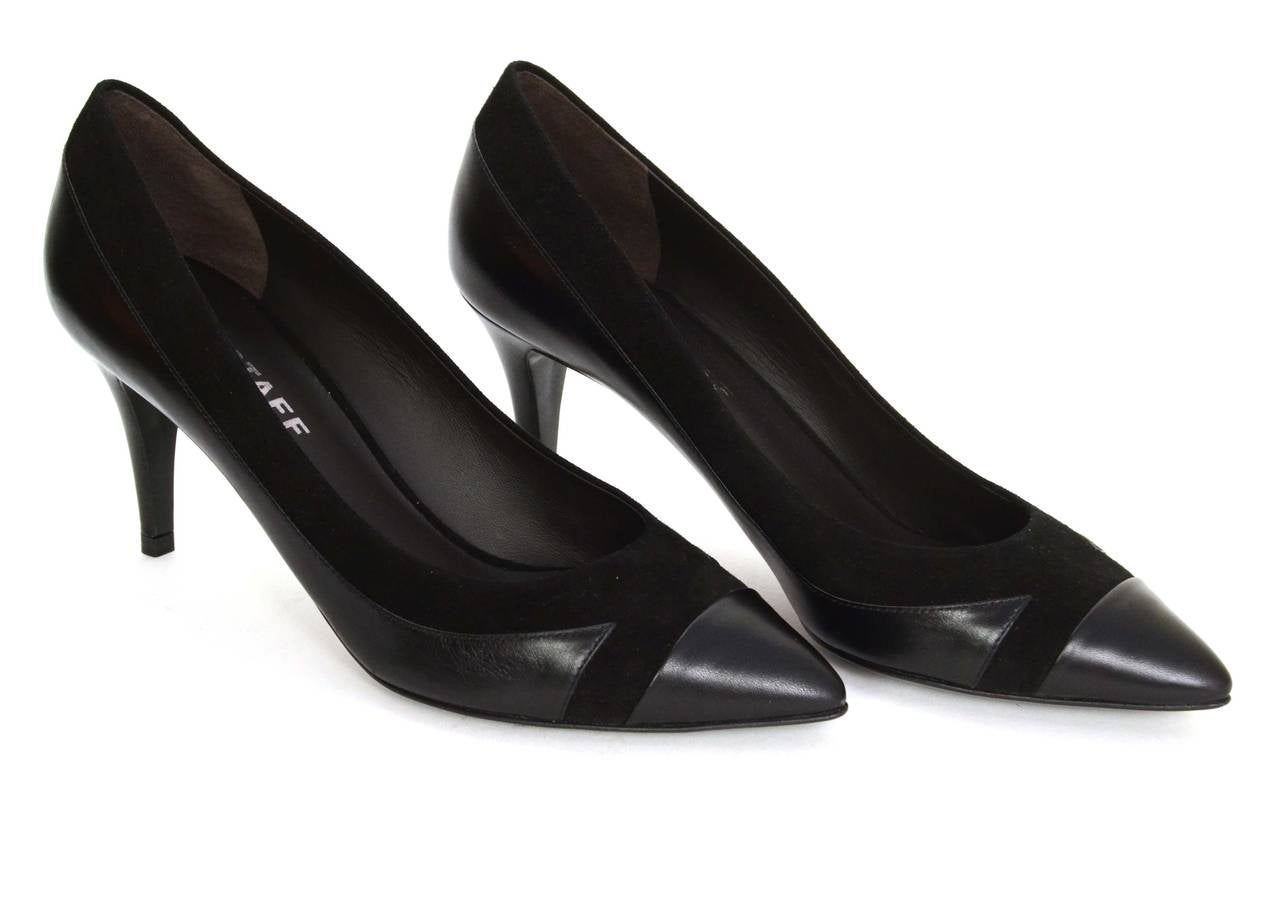 Belstaff Black Leather And Suede Pumps Sz 38 For Sale At