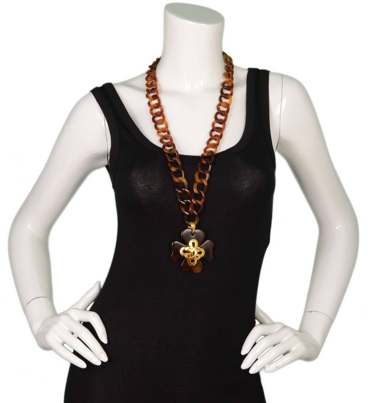 Chanel Vintage '95 Tortoise & Gold Four Leaf Clover Necklace 5