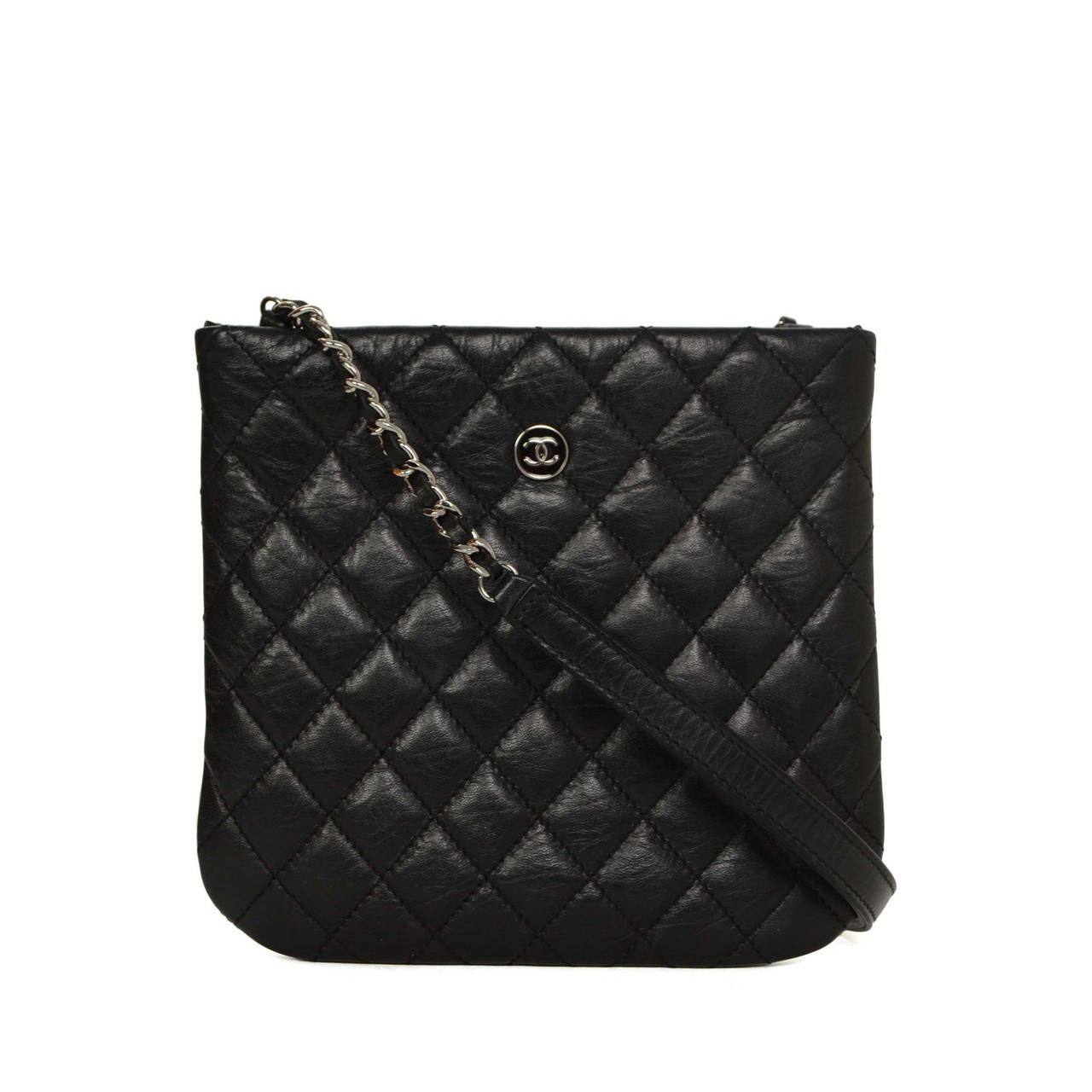 46716d49e9fc Black Chanel Crossbody Leather Bag. CHANEL Black Quilted Distressed Leather  Small Crossbody Bag SHW at 1stdibs